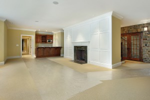Basement of new construction home with fireplace