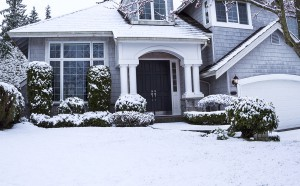 Horizontal photo of suburban home with snow on lawn plants trees and roof